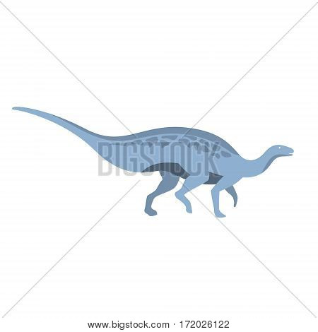 Blue Herbivorous Dinosaur Of Jurassic Period, Prehistoric Extinct Giant Reptile Cartoon Realistic Animal. Simplified Dinosaur Species Vector Illustration With Recognizable Details Of Ancient Fauna.