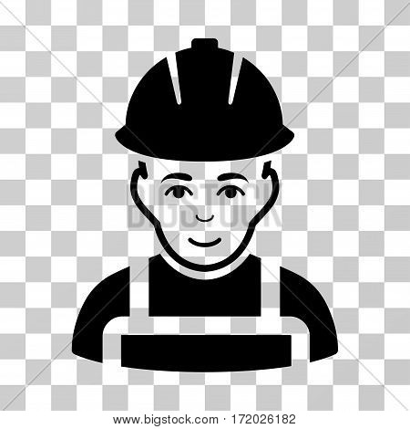Glad Worker vector pictogram. Illustration style is flat iconic black symbol on a transparent background.