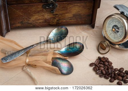Still Life, Antique Copper Spoon, Old Time, Three, Hand Pocket Barometer