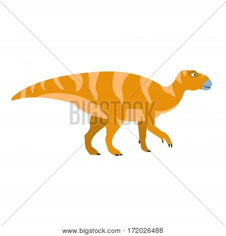 Birdlike Beak Orange Dinosaur Of Jurassic Period, Prehistoric Extinct Giant Reptile Cartoon Realistic Animal. Simplified Dinosaur Species Vector Illustration With Recognizable Details Of Ancient Fauna.