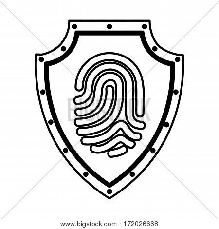 shield with finger print isolated icon vector illustration design