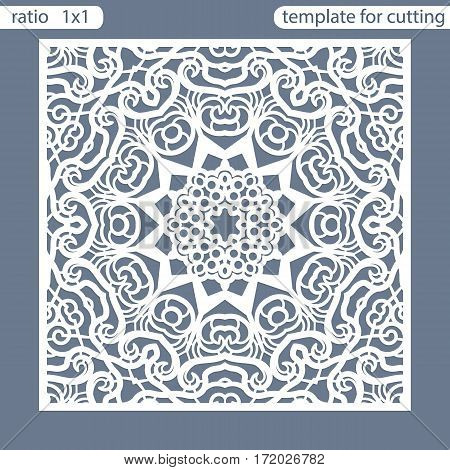 Template square greeting cards laser cut. Suitable for wedding invitations. Template greeting card for cutting plotter. Openwork lattice cut by laser cutting. Vector illustrations.