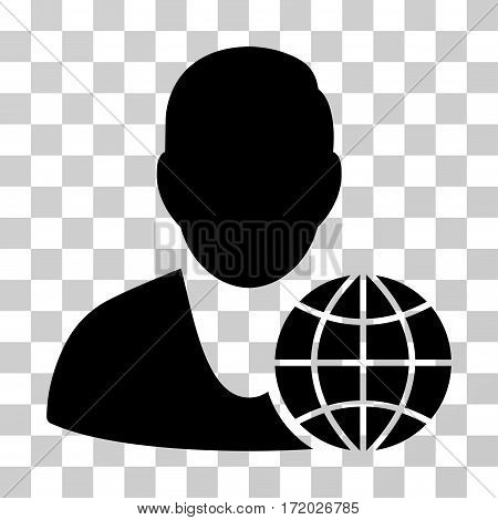 Global Manager vector pictograph. Illustration style is flat iconic black symbol on a transparent background.