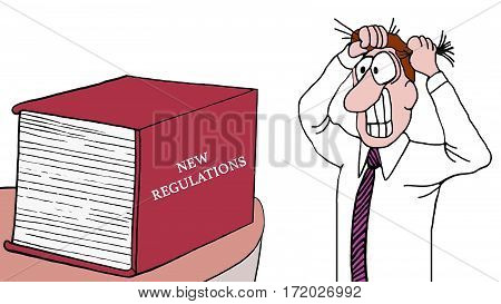 Cartoon illustration of a man pulling his hair out as he sees the huge book of 'new regulations'.