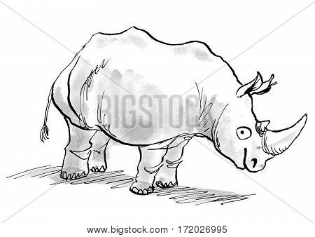 Cartoon illustration of a rhino smiling and looking at the viewer.
