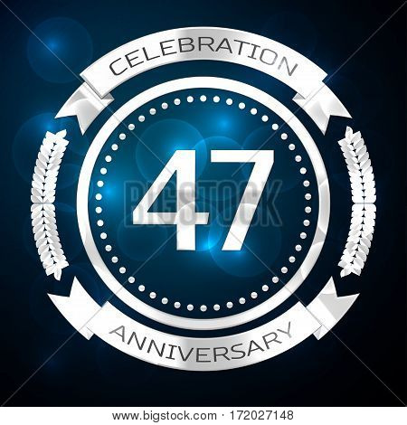 Forty seven years anniversary celebration with silver ring and ribbon on blue background. Vector illustration