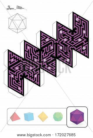 ICOSAHEDRON MAZE - template of one of five platonic solid labyrinths - Print on heavy paper, cut it out, make a 3d model and find the right way from 1 to 20.