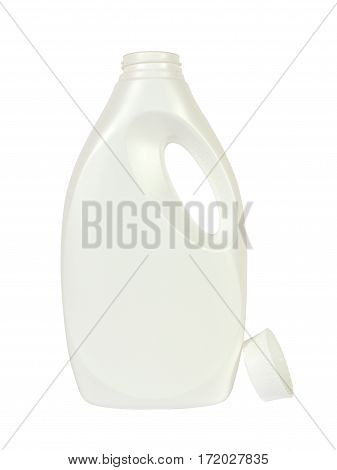 White plastic bottle for liquid detergent with its lid beside isolated on white