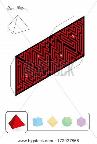 TETRAHEDRON MAZE - template of one of five platonic solid labyrinths - Print on heavy paper, cut it out, make a 3d model and find the right way from 1 to 4.