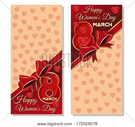 Template cards for Women's Day. Happy International Women's Day. Festive background with hearts, ribbon and bows for the holiday on March 8. Vector flyer template