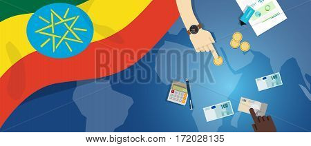 ethiopia economy fiscal money trade concept illustration of financial banking budget with flag map and currency vector
