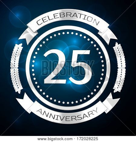 Twenty five years anniversary celebration with silver ring and ribbon on blue background. Vector illustration