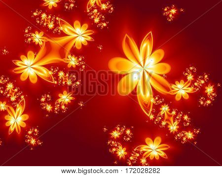 Flower fire pattern in fractal design. Artwork for creative design art and entertainment.
