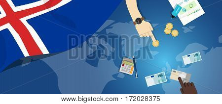 Iceland economy fiscal money trade concept illustration of financial banking budget with flag map and currency vector