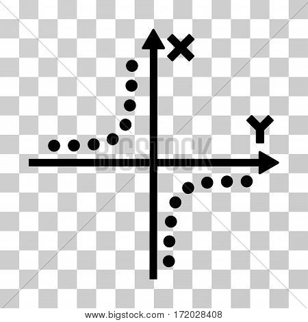 Hyperbola Plot vector pictograph. Illustration style is flat iconic black symbol on a transparent background.