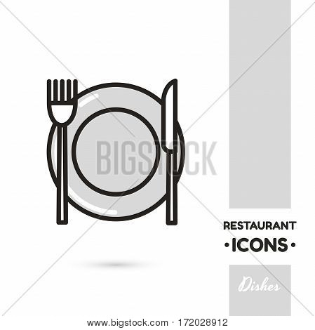 Monochrome linear icon. Stylized dishes. One image of series Restaurant icons. Vector illustration. Can be used for applications and websites