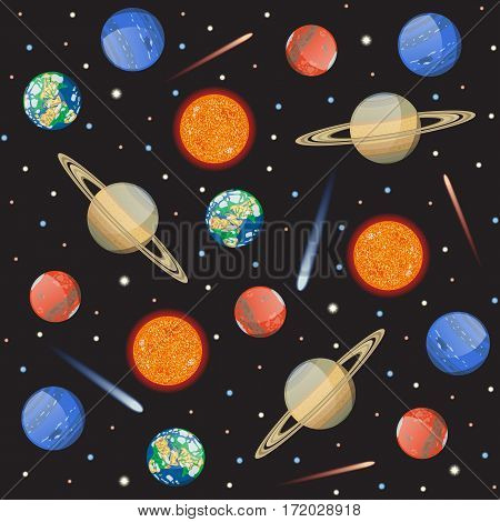 Vector Seamless pattern with solar system planets