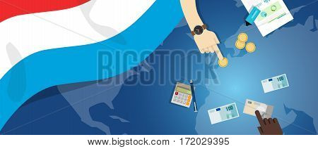 Luxembourg economy fiscal money trade concept illustration of financial banking budget with flag map and currency vector