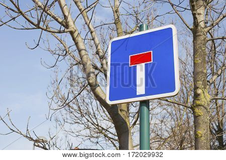 Dead end signal on the street. European union traffic signal spanish model other countries may vary.