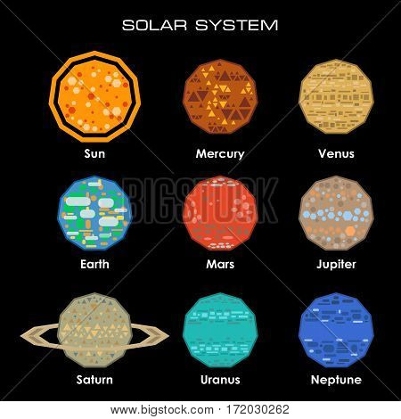 Concept of the Solar System from simple shapes on dark background