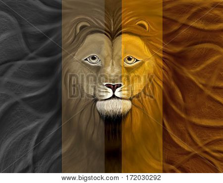 Lion head with a wavy mane of filling a background, in different colors