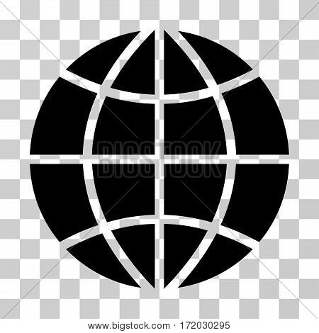 Planet Globe vector pictograph. Illustration style is flat iconic black symbol on a transparent background.
