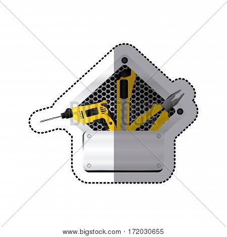 sticker grille perforated frame with metal plate and tools vector illustration