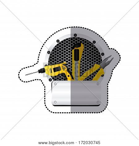 sticker grille perforated circular frame with metal plate and tools vector illustration