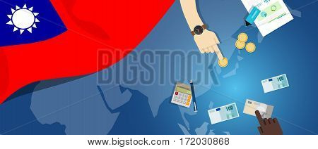 Taiwan Republic of China economy fiscal money trade concept illustration of financial banking budget with flag map and currency vector