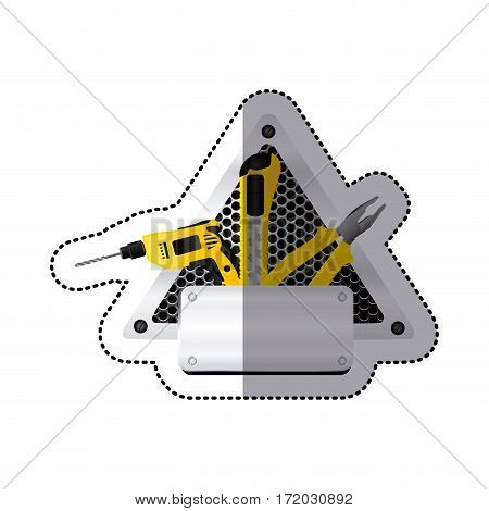 sticker grille perforated triangle frame with metal plate and tools vector illustration
