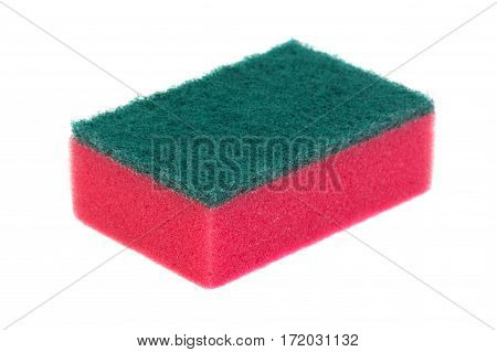 Red new sponge isolated on white background