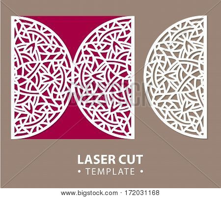 Laser cut vector card temlate with mandala ornament. Cutout circle pattern silhouette. Die cut paper element for wedding invitations, save the date, greeting card, envelope. Cutting panel