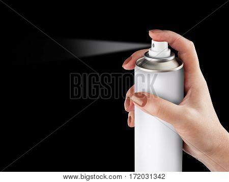 White spray can isolated on black background on woman hand, Aerosol Spray Can, Metal Bottle Paint Can Realistic photo image. With clipping path