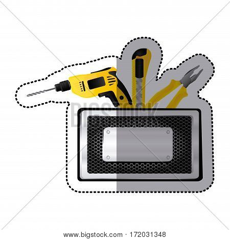 sticker rectangle metallic frame with grille perforated and tools vector illustration