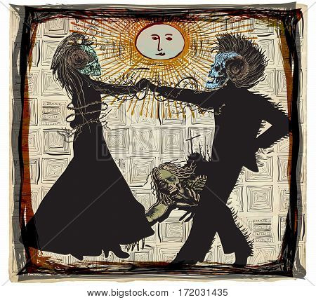 Noon dancers voodoo night - an hand drawn vector. Freehand sketching. Two skeletons lovers and an undead zombie.