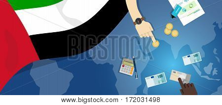United Arab Emirates economy fiscal money trade concept illustration of financial banking budget with flag map and currency vector
