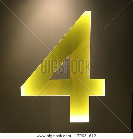 Backlit number 4 four sign yellow wall cut 3d