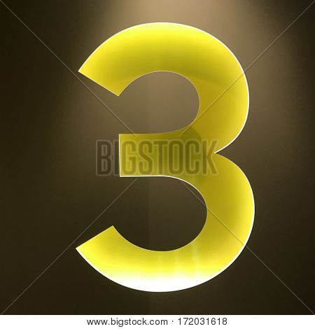 Backlit number 3 three sign yellow wall cut 3d