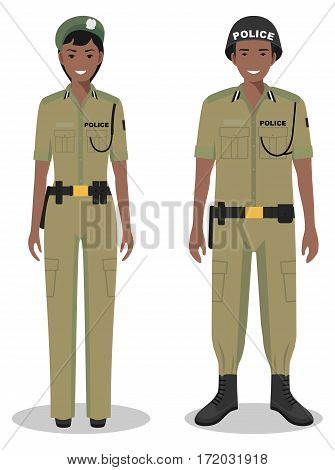 Couple of african police people isolated on white background. Set of USA policeman and policewoman standing together. Cute and simple in flat style.