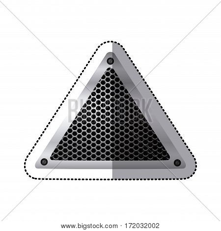 sticker triangular metallic frame with grill perforated vector illustration