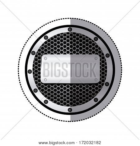 sticker circular metallic frame with grill perforated and plaque with screws vector illustration