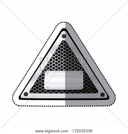 sticker triangle metallic frame with grill perforated and plaque with screws vector illustration