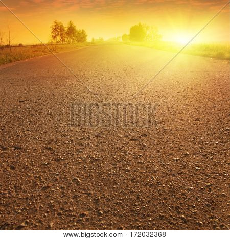 Country asphalt road at sunset.