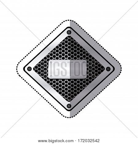sticker diamond metallic frame with grill perforated and plaque with screws vector illustration