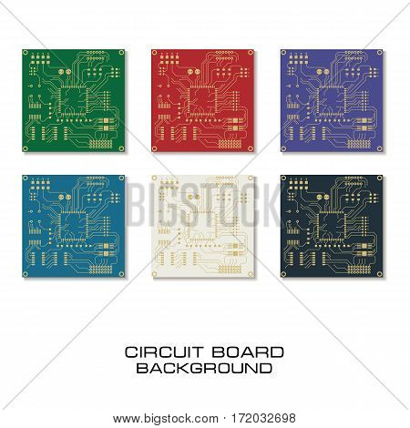 Vector set of circuit board PCB background