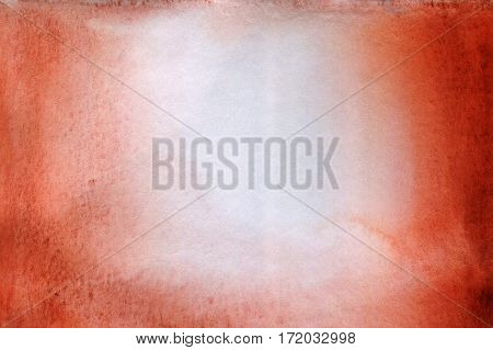 Brown red watercolor hand drawn wet paint on white background for text design tag. Aquarelle bright color on paper texture illustration element for wallpaper backdrop