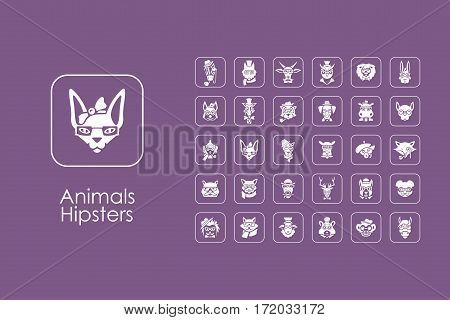 It is a set of animals hipsters simple web icons