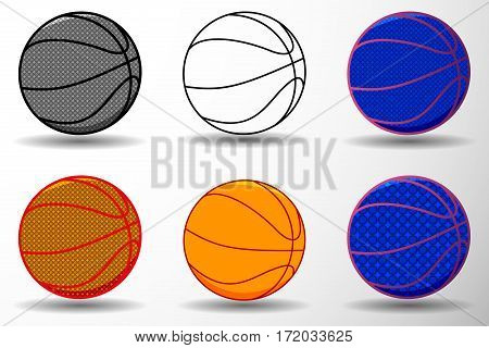 basketball ball vector illustration  -  set ,