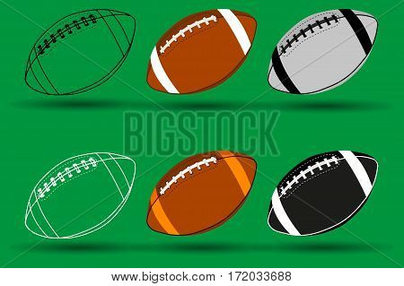 American football ball , Rugby ball vector illustration - set ,