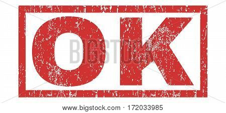 Ok text rubber seal stamp watermark. Caption inside rectangular banner with grunge design and dirty texture. Horizontal vector red ink sign on a white background.